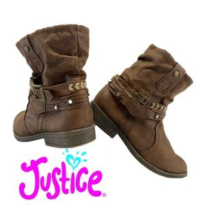 Justice girls brown ankle boots size 4